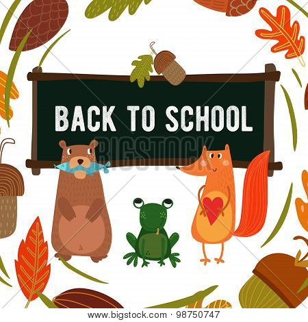 Cute Woodland And Forest Animals In School. Bear, Fox And Frog.-stock Vector