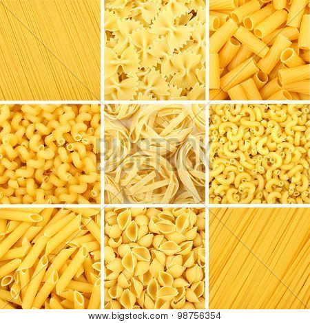 Nine Full Backgrounds Of Various Dry Uncooked Pasta
