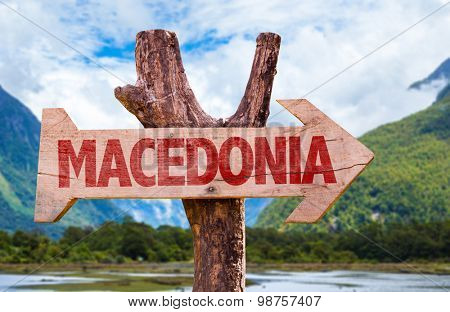 Macedonia wooden sign with mountains background
