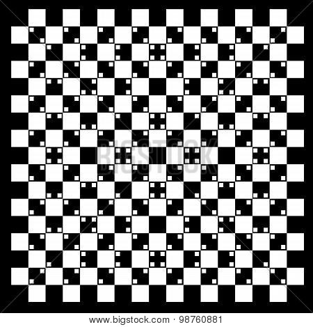 illusion of volume in black and white squares poster