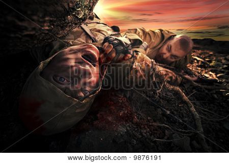 Bloody monster near soldier's dead body. Apocalypse background poster