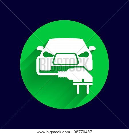 Electric car plug icon eco fuel vector. poster