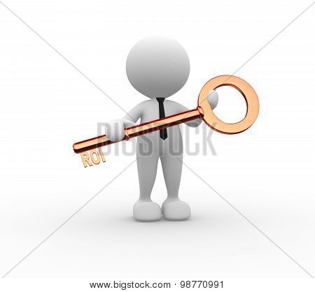 3d people - man person with key. ROI - return on investment poster