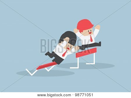 Businessman And His Rival In Hurdle Race