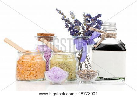 Spa Still Life With Lavender Flowers And Bath Salt, On White Background
