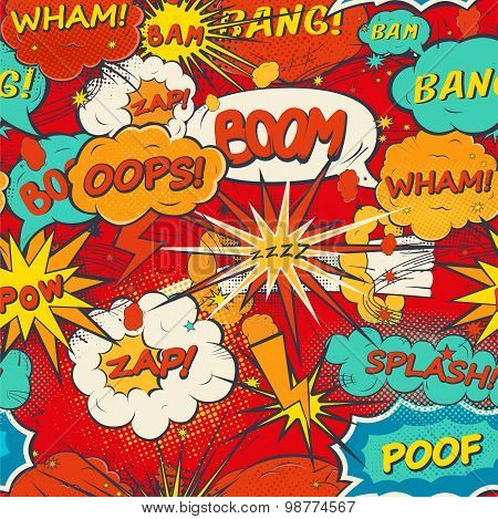 Seamless Pattern Comic Speech Bubbles In Pop Art Style