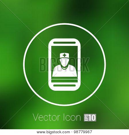 Cartoon illustration phone doctor character holding stethoscope
