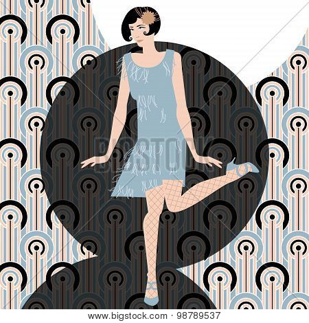 Woman Dancing The Charleston. Art-deco. Retro Style