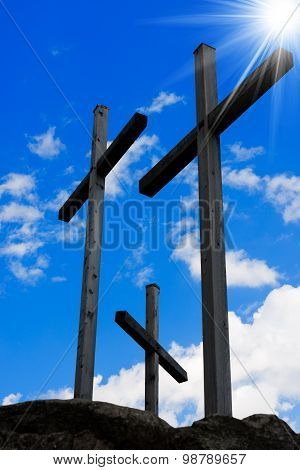 Golgotha - Three Crosses On Blue Sky