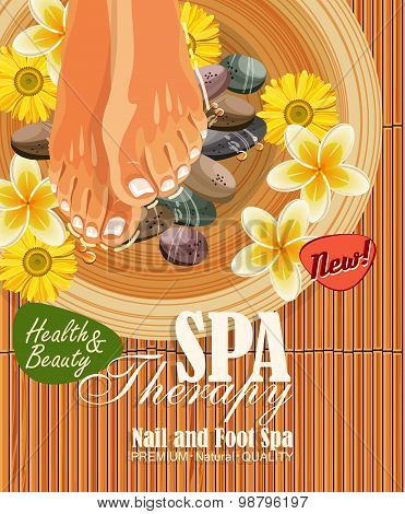 Pedicure spa illustration with women's legs