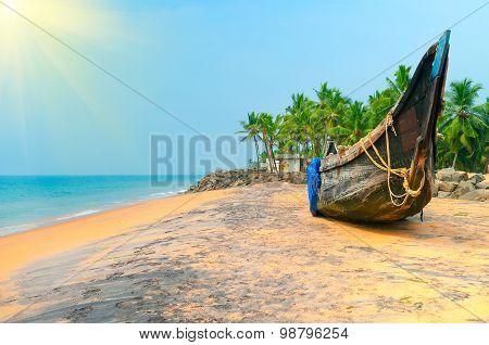 Fishing  Boat on Tropical beach