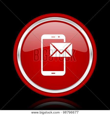 mail red glossy web icon chrome design on black background with reflection