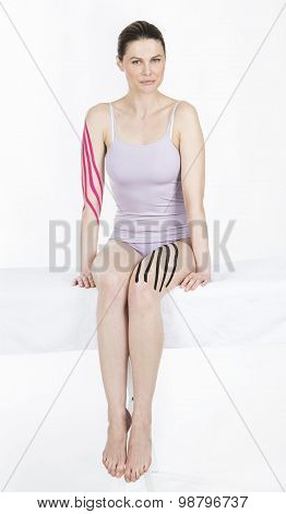 woman with draining taping