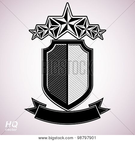 Vector eps8 aristocratic symbol. Festive graphic shield with five stars and curvy ribbon, decorative