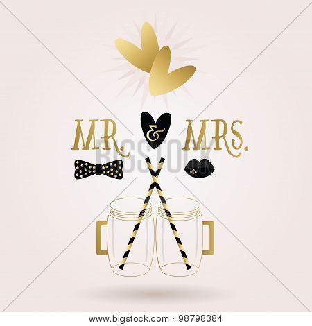 Black and golden abstract Mr. & Mrs. mug jars icons with dropped shadow on pink gradient