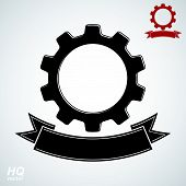 Vector conceptual industry system design element, cog wheels merged, gears with decorative curvy ribbon. High quality business icon. Best engineering project award conceptual symbol. poster