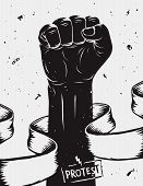 Protest background raised fist held in protest. Vector illustration poster