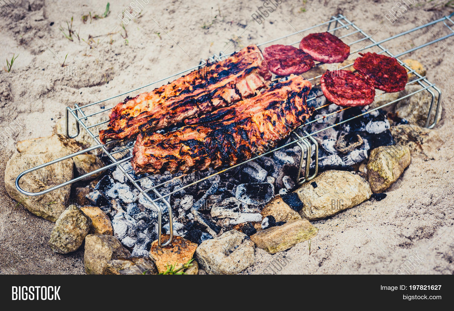 Pork Ribs Burgers On Image & Photo (Free Trial) | Bigstock