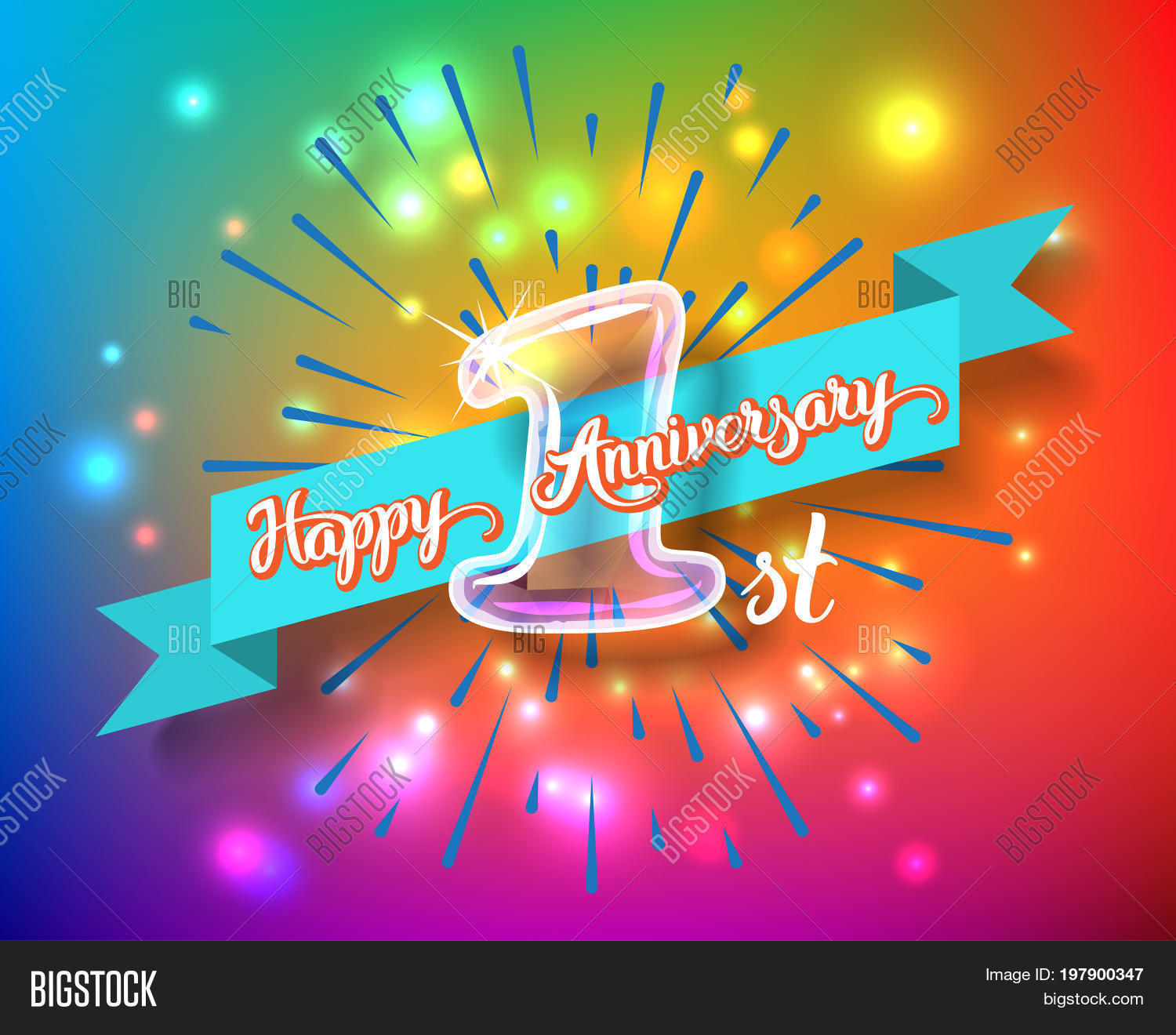 Happy 1st Anniversary Image Photo Free Trial Bigstock