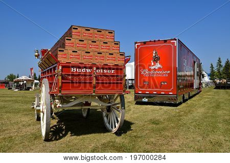 MOORHEAD, MINNESOta, July 22, 2017: Anheuser-Busch sponsored Grower Days honoring farming who grow barley for the malting process which included displaying the beer wagon pulled by the Clydsdales.