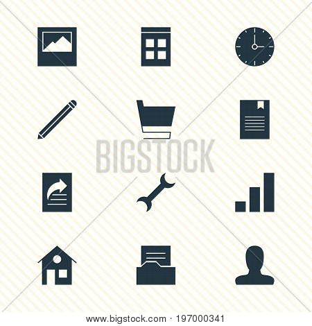 Editable Pack Of Pen, Document Directory, Bookmark And Other Elements.  Vector Illustration Of 12 Web Icons.