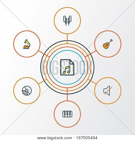 Multimedia Colorful Outline Icons Set. Collection Of Keys, Strings, Gramophone And Other Elements