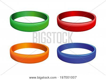 Set of multicolored plastics wristband. Friendship band isolated on white background. Realistic vector illustration for International Friendship Day