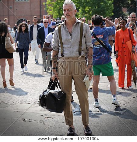 FLORENCE- 14 June 2017 Domenico Gianfrate on the street during the Pitti