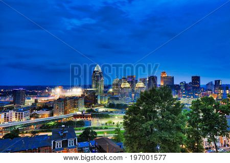 Downtown Cincinnati, Ohio looking southwest toward the Ohio River and Kentucky