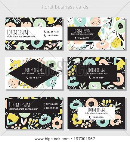 Set of six horizontal business cards with beautiful floral design.Complied with the standard sizes.