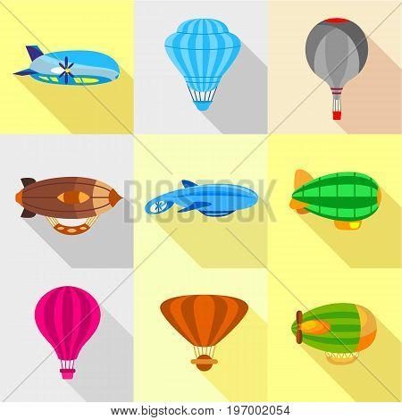 Fantastic airships icons set. Flat set of 9 fantastic airships vector icons for web with long shadow
