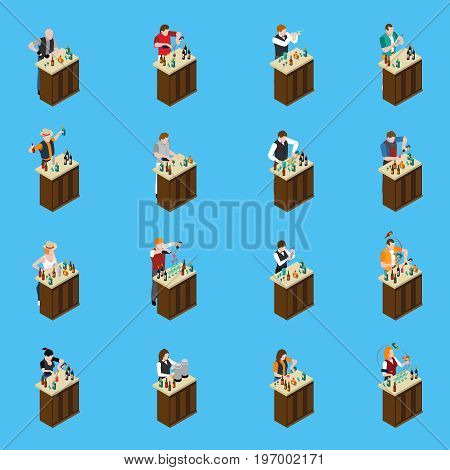 Barman isometric icons set with men and women standing at racks and pouring drinks isolated on blue background vector illustration