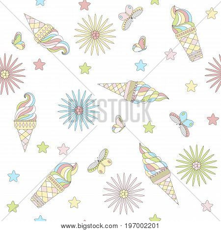 Cute summer background with different kinds of ice cream flowers and butterflies. Vector illustration in pastel color.