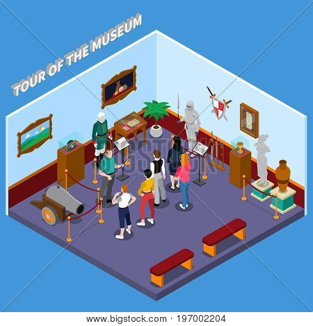Tour of museum isometric composition with guide and group of visitors, warriors, weapon, ancient sculpture vector illustration