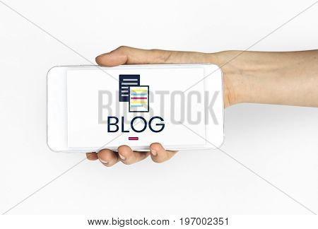 Information articles blogging on a device screen