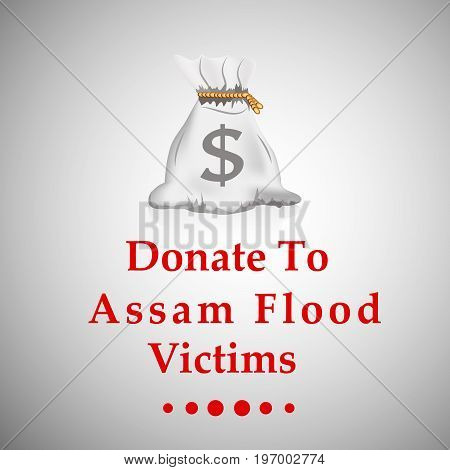 illustration of coin sack with Donate to Assam flood Victims text on Assam flood calamity