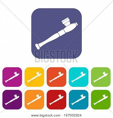 Pipe for smoking marijuana icons set vector illustration in flat style in colors red, blue, green, and other