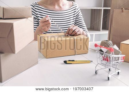 Internet online shopping concept Young seller woman preparing package to be sent Mail transportation service network connection market technology on global Order online for customer convenience.