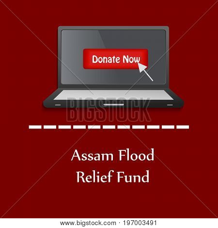 illustration of laptop with Assam flood Relief Fund text on Assam flood calamity