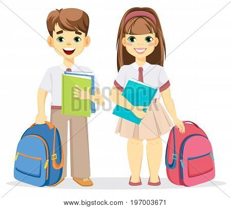 Schoolboy and schoolgirl with backpack and textbooks. Coming back to school. Cute smiling boy and girl. Cartoon characters. Vector illustration.