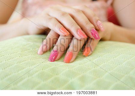 Beautiful Fingernail Manicure Acrylic Nail Polish Of Woman Beauty