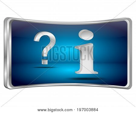 blue information and question button - 3D illustration