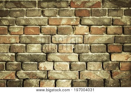old brick wall for texture or background, yellow toned