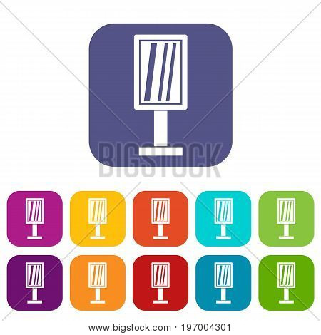 Advertising stand icons set vector illustration in flat style in colors red, blue, green, and other
