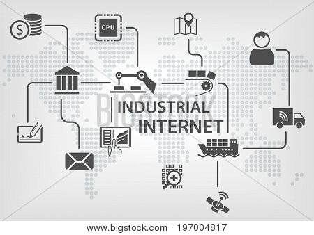 Industrial Internet (IOT) concept with world map and process flow for business automation of industries.