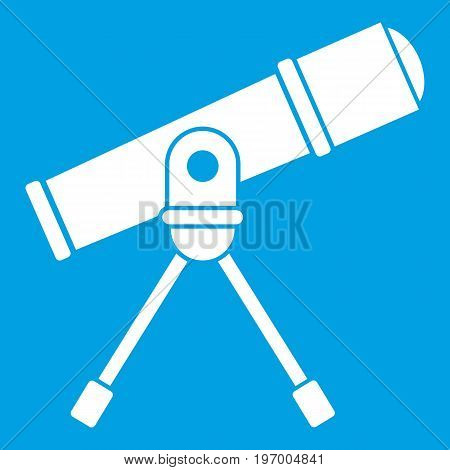 Space telescope icon white isolated on blue background vector illustration