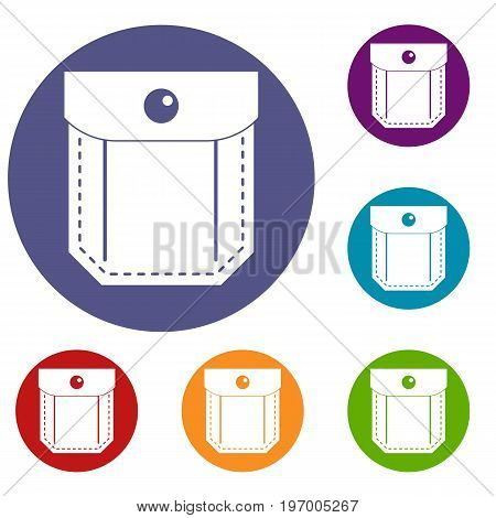 Pocket with valve and button icons set in flat circle red, blue and green color for web