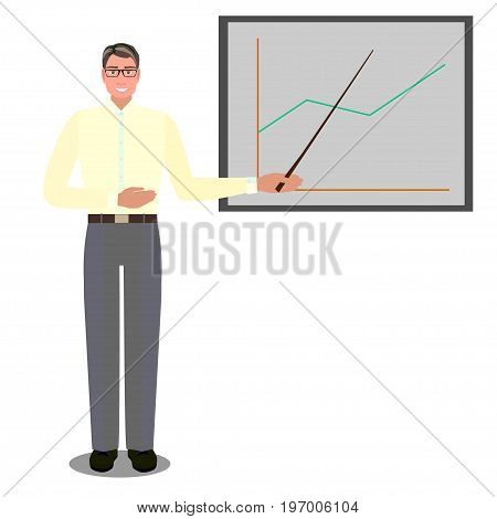 Man in spectacles near screen with chart