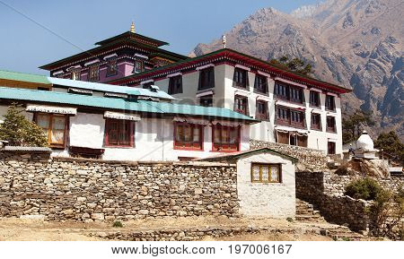 Tengboche Monastery with stupa and prayar wall the best monastery in Khumbu valley trek to Everest base camp Sagarmatha national park Nepal