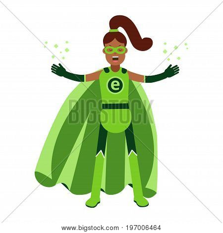 Ecological superhero black woman in green costume and ponytale, eco concept vector Illustration on a white background